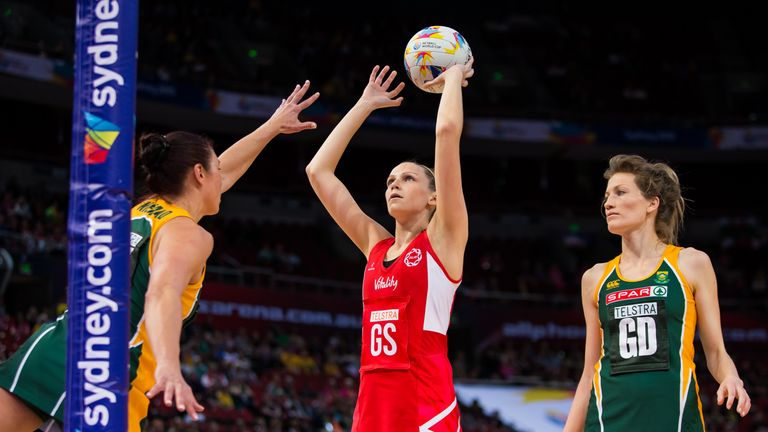 Jo Harten (centre) was impressive during England's win over South Africa at the Netball World Cup