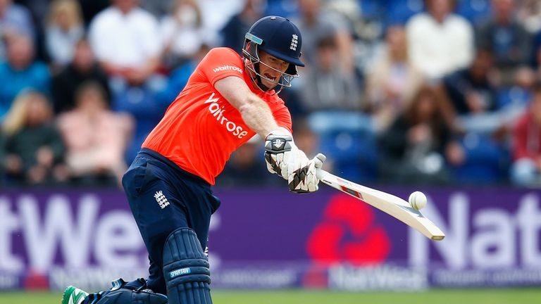 Eoin Morgan in action during the T20 International between England and Australia in Cardiff