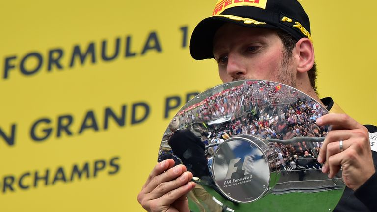 Romain Grosjean finished third at Spa to give Lotus their first podium finish since 2013