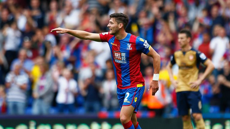 Joel Ward of Crystal Palace celebrates his equaliser