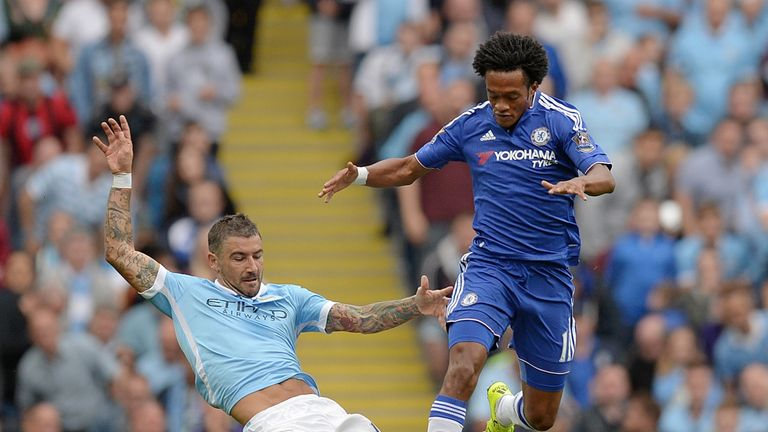 Cuadrado (right) made an appearance from the bench against Man City this season