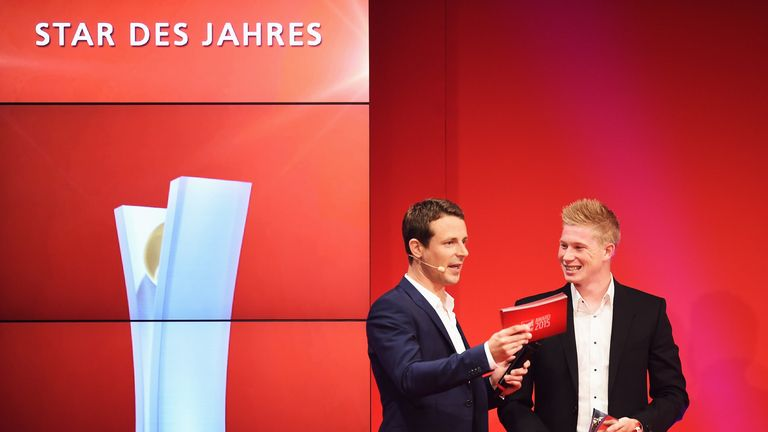 De Bruyne (right) pictured at the Sport Bild Awards, where he was asked if he would stay at Wolfsburg