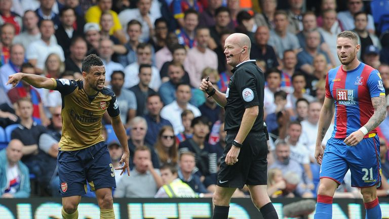 Referee Lee Mason failed to send off Francis Coquelin during the Gunners' win at Crystal Palace on Sunday