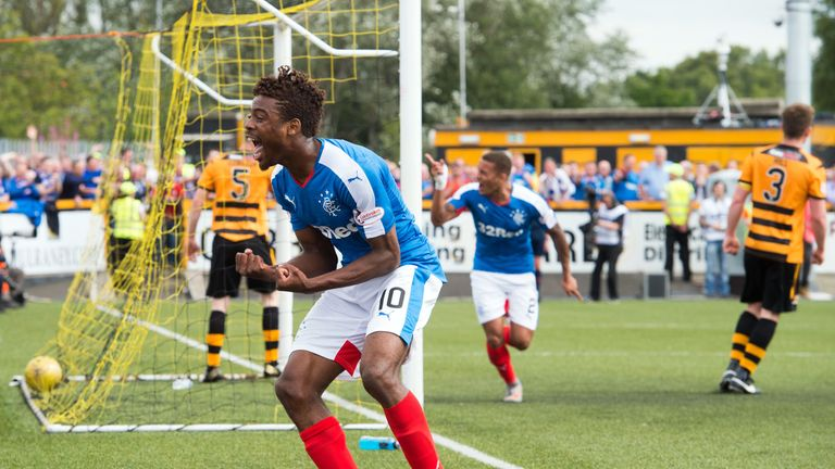 Rangers' Nathan Oduwa upset Alloa defender Colin Hamilton with some fancy footwork.
