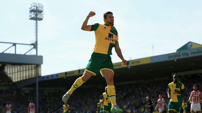 Russell Martin celebrates after scoring his equaliser for Norwich at Carrow Road