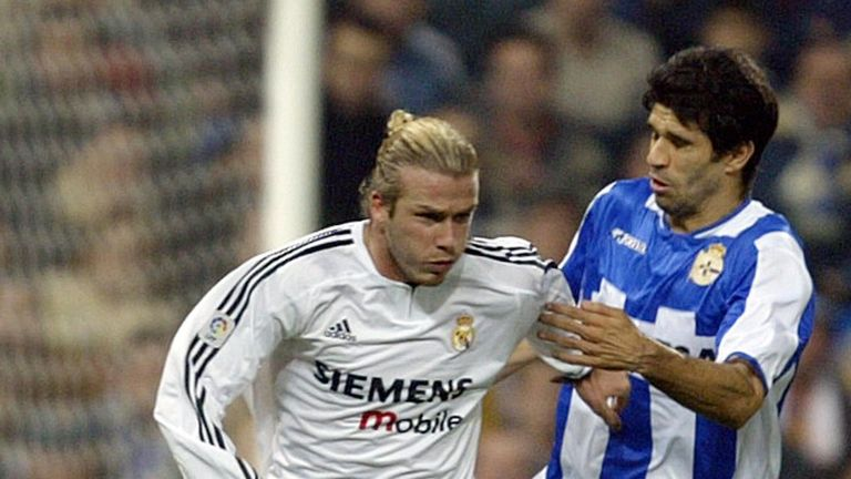 Valeron in action against David Beckham and Real Madrid in 2003