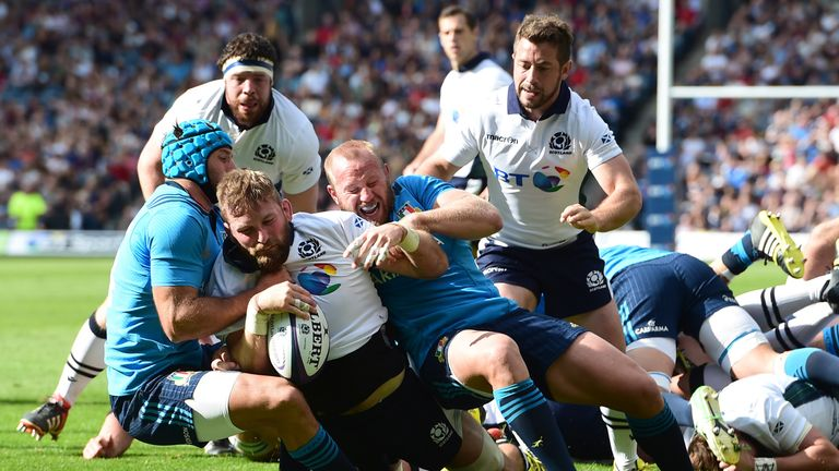 John Barclay powers over for a try on his first Scotland start since November 2013