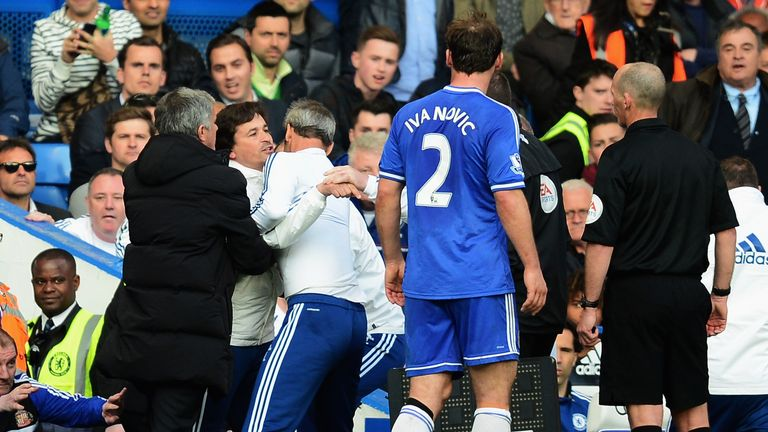 Chelsea coach Rui Faria is restrained during Chelsea's defeat by Sunderland in April 2014