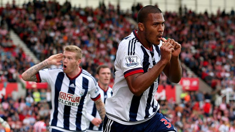Salomon Rondon of West Brom celebrates scoring at Stoke