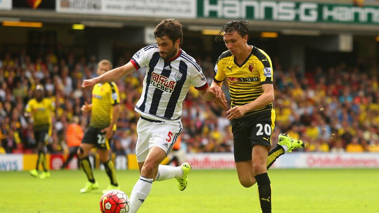 Steve Berghuis (right) playing for Watford against West Brom