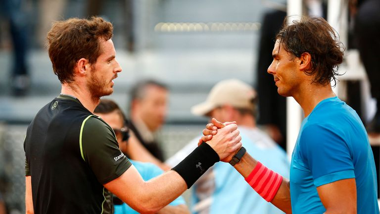 Rafael Nadal (r) paid tribute to Andy Murray