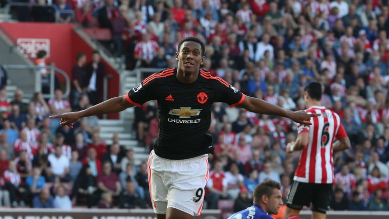 Anthony Martial scored twice against Southampton last weekend