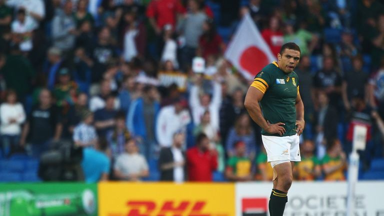 Bryan Habana of South Africa stands dejected following defeat to Japan in the 2015 Rugby World Cup