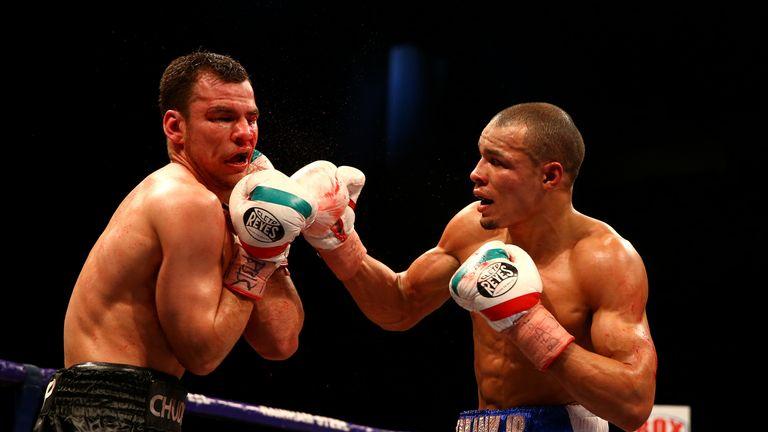 Chris Eubank Jr (white shorts) beat Dmitry Chudinov in February to win the interim WBA middleweight tiltle