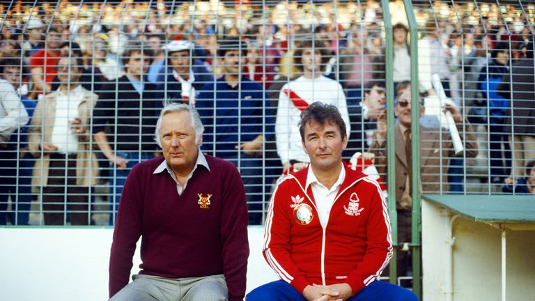 Nottingham Forest manager Brian Clough and assistant Peter Taylor