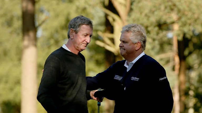 Montgomerie consoles Ross Drummond after winning the play-off at Woburn