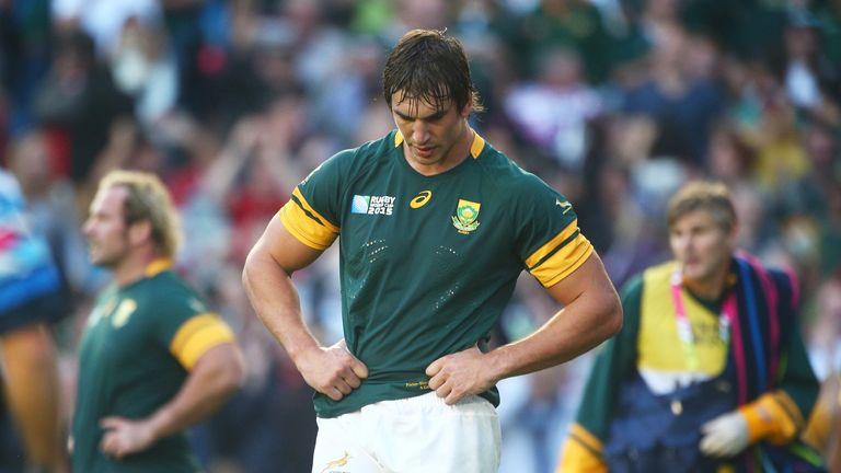 Springbok lock Eben Etzebeth is dejected following defeat to Japan