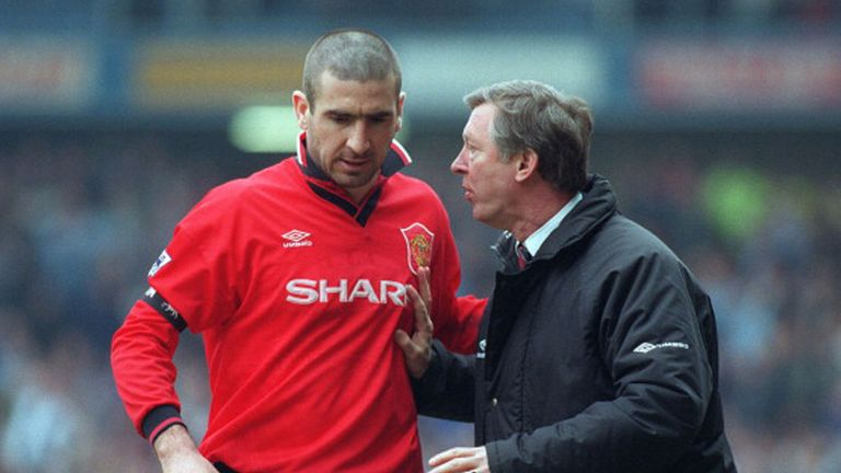 Eric Cantona (left) is one of only four world-class players Sir Alex Ferguson claims to have worked with at Manchester United