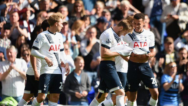 Eric Dier (middle) of Tottenham celebrates scoring his team's first goal