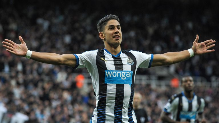 Ayoze Perez celebrates his opener for Newcastle
