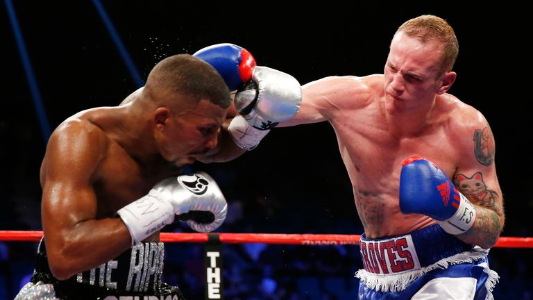 George Groves throws a right at Badou Jack