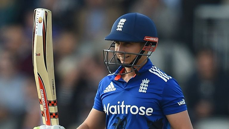 England's James Taylor celebrates his maiden ODI hundred
