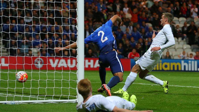 James Wilson (right) scores England U21's winner agaisnt USA's U23 side at Deepdale