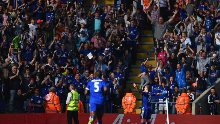 Jamie Vardy celebrates putting Leicester ahead with the first of his two goals