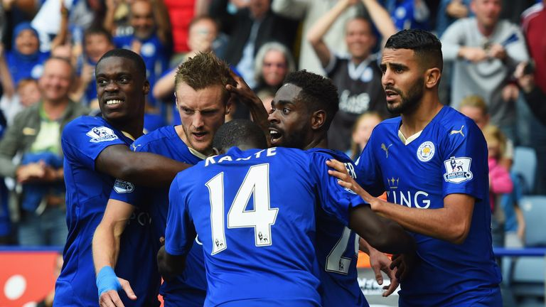 Jamie Vardy (second left) celebrates after scoring Leicester's second goal