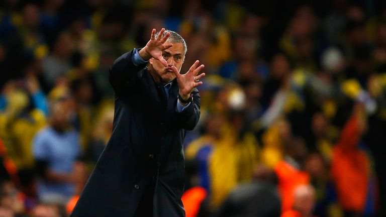 Jose Mourinho cut an animated figure in the early stages of the clash