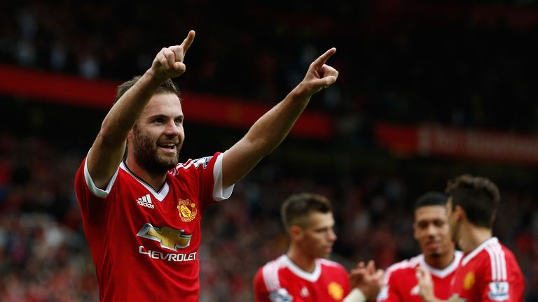 Mata celebrates scoring Man Utd's third goal against Sunderland