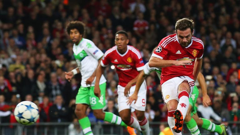 Juan Mata equalised from the penalty spot for Manchester United