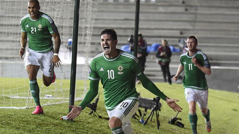 Kyle Lafferty (C) has scored seven goals for Northern Ireland during the Euro 2016 qualifying Group F