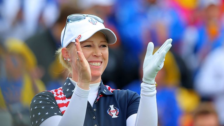Morgan Pressel was one of the USA's winning singles players at the Solheim Cup on Sunday