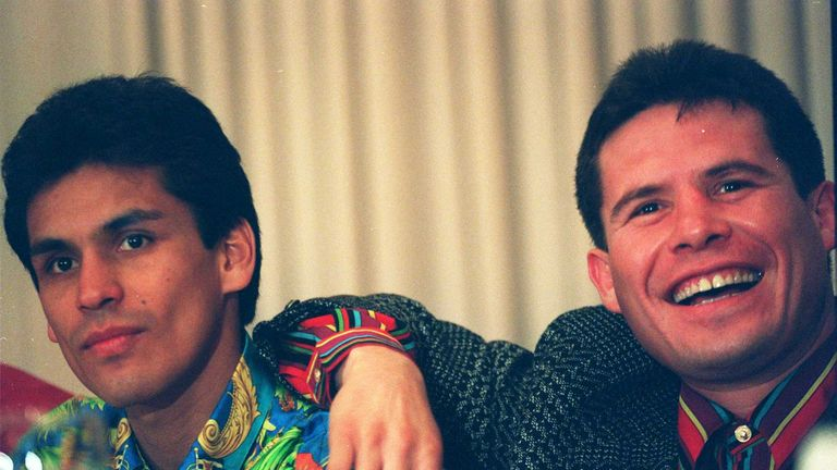 Ricardo Lopez posing with another Mexican great, Julio Cesar Chavez (right) in 1994