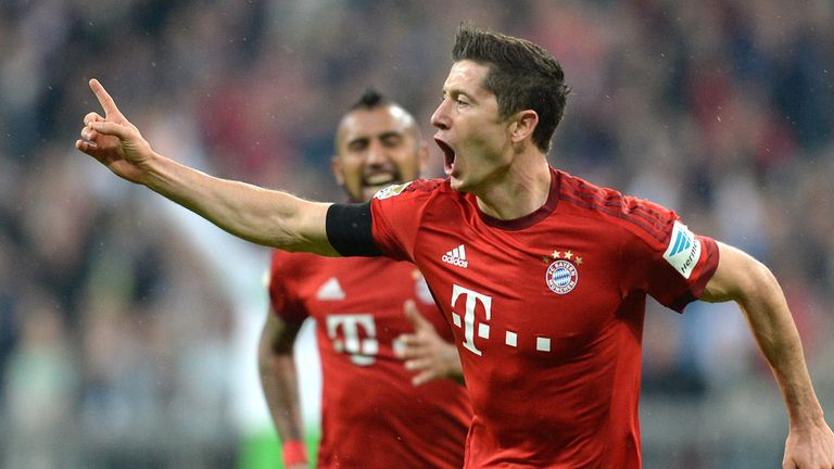 Lewandowski celebrates after scoring his third goal for Bayern