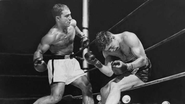 Rocky Marciano in action against Roland La Starza in 1950