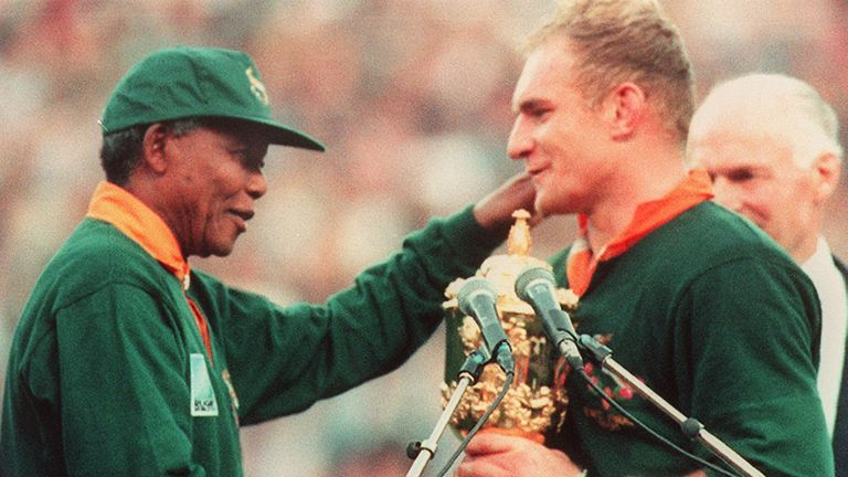 The image of Nelson Mandela in Springbok colours presenting the Webb Ellis Cup to South Africa captain Francois Pienaar is one of the most iconic in sport