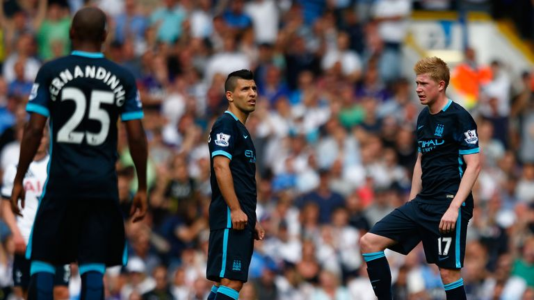 De Bruyne feels City can deal with the absence of forward Sergio Aguero (L)