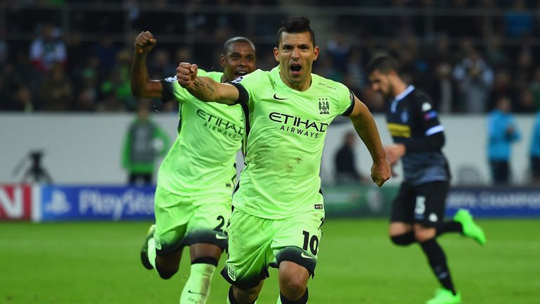 Sergio Aguero's late penalty earned City 2-1 victory at Borussia Monchengladbach
