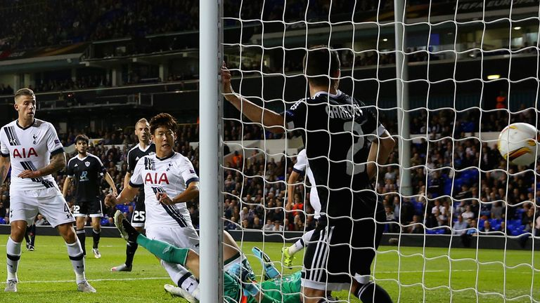 Son was left unmarked in the area to open his Spurs account with a simple finish.