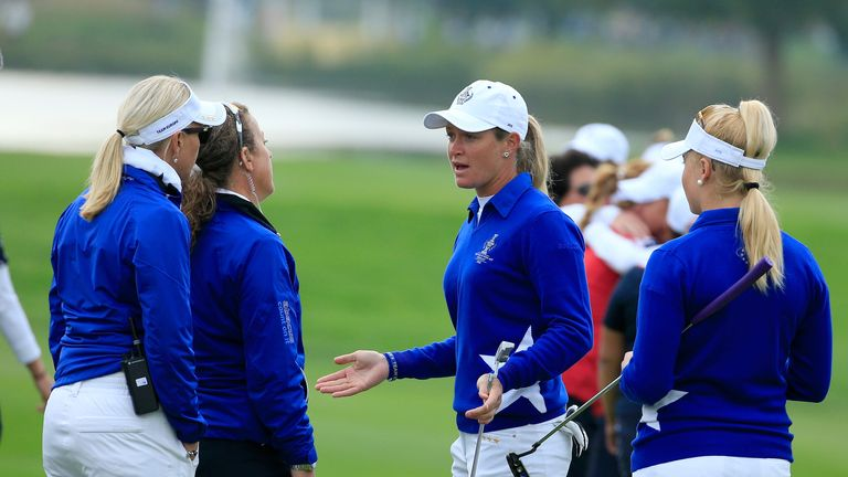 Suzann Pettersen in discussions with the European captain after the morning controversy