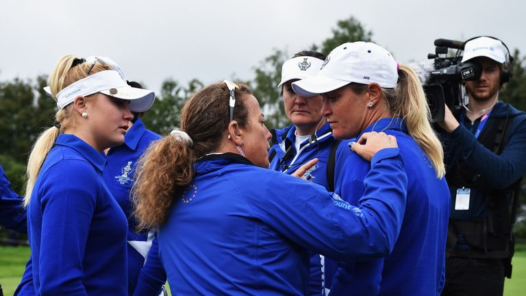 Suzann Pettersen's (right) conduct did not go down well with the Americans on Sunday
