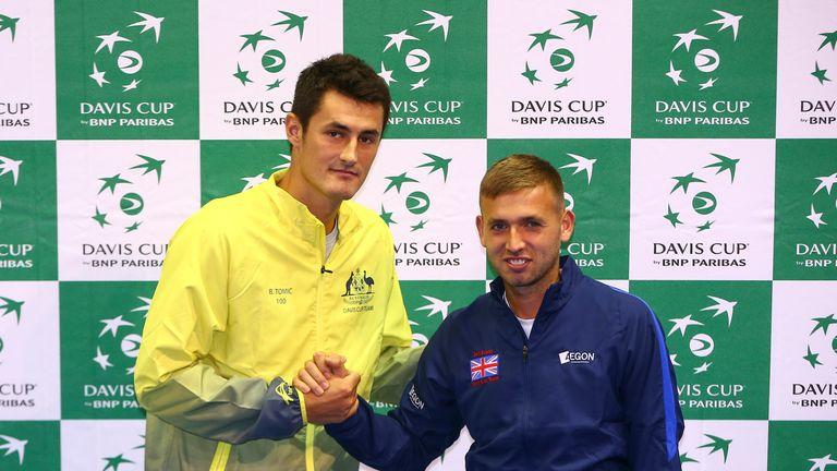 Bernard Tomic of Australia (left) all set for Dan Evans test in Glasgow on Friday
