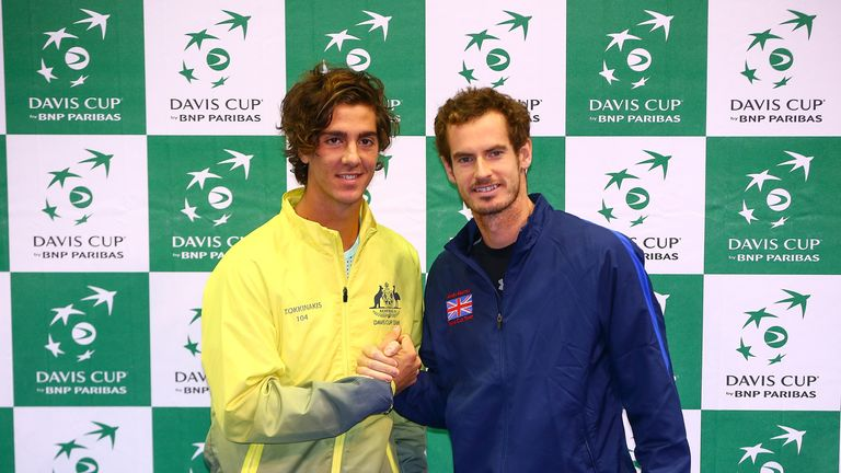 Andy Murray (right) poses for a photo with Thanasi Kokkinakis  (left) ahead of the first rubber on Friday