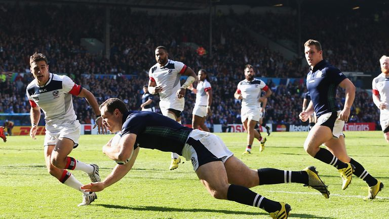 Tim Visser scores Scotland's opening try against the USA