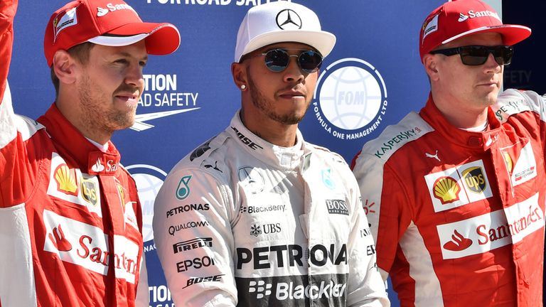 Sebastian Vettel (L), Lewis Hamilton and Kimi Raikonnen will battle against each other in Sunday's Italian GP