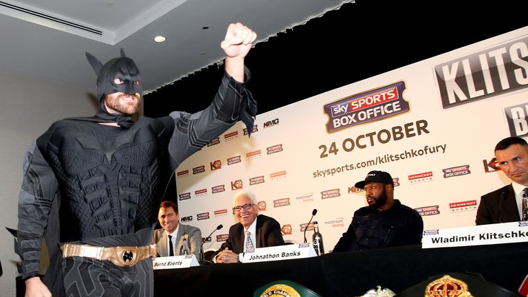 Tyson Fury arrived dressed as Batman for an explosive press conference a month out from his fight with Wladimir Klitschko