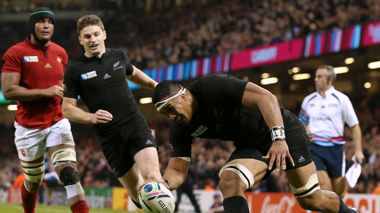 Jerome Kaino touches down for one of New Zealand's nine tries against France