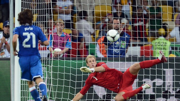 Andrea Pirlo scored against Joe Hart during Italy's shootout win at Euro 2012